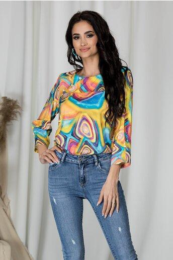 Bluza Sima galbena cu imprimeu colorat si nasturi decorativi la decolteu