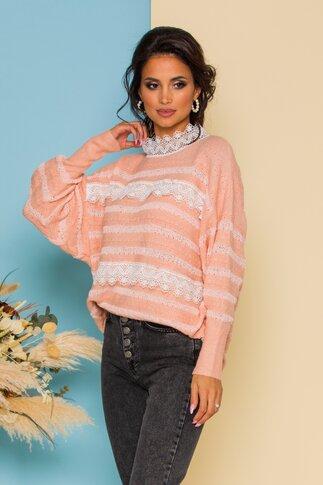 Bluza Simi roz somon cu detalii din dantela
