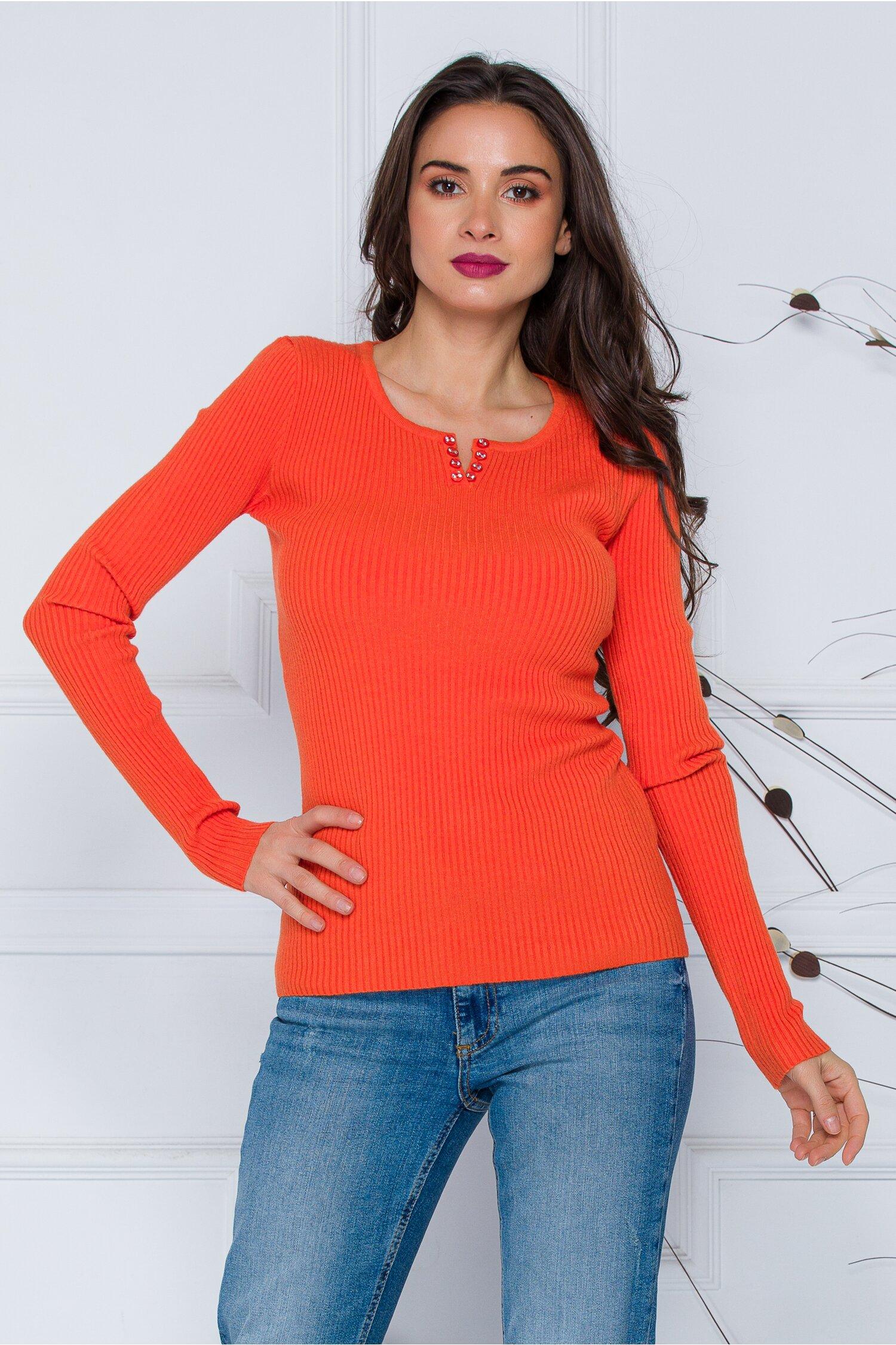 Bluza Simona orange cu nasturi discreti la decolteu