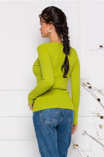 Bluza Simona verde lime cu nasturi discreti la decolteu