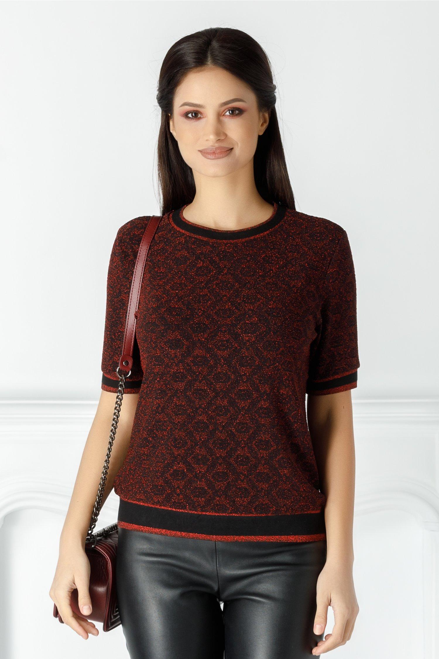 Bluza Sindy neagra cu fir lurex rosu