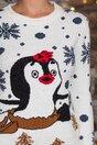 Bluza Snow alba cu pinguini si fulgi de nea