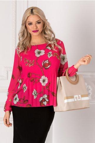 Bluza Sofi fucsia din voal plisat cu imprimeu floral