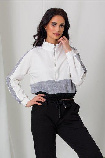Bluza sport alb cu elastic in talie si strasuri pe maneci