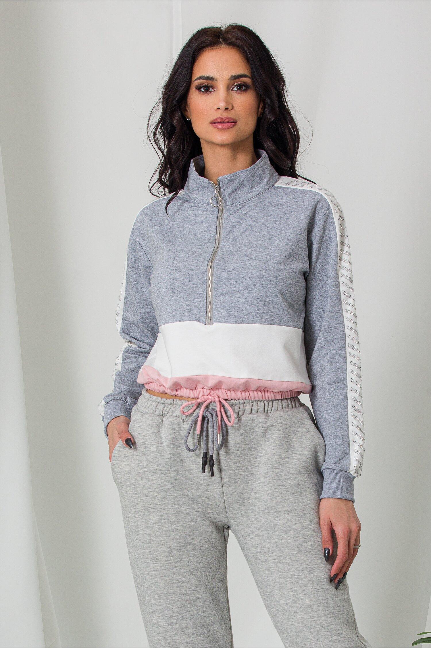 Bluza sport gri cu elastic in talie si strasuri pe maneci