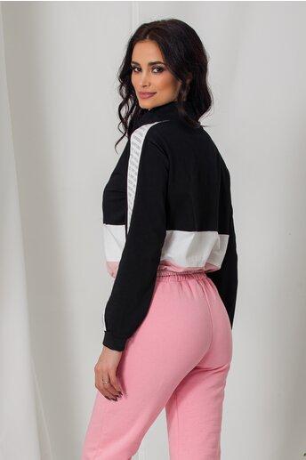 Bluza sport neagra cu elastic in talie si strasuri pe maneci