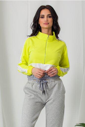Bluza sport verde neon cu elastic in talie si strasuri pe maneci