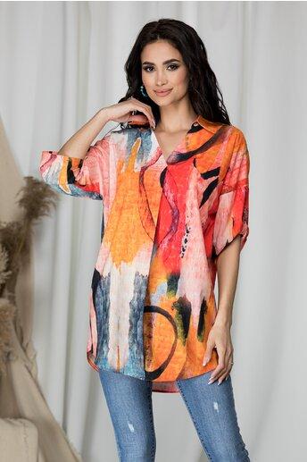 Bluza subtire Bella orange cu imprimeu divers colorat
