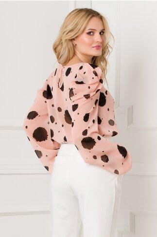Bluza Tammy roz cu imprimeu si detalii argintii