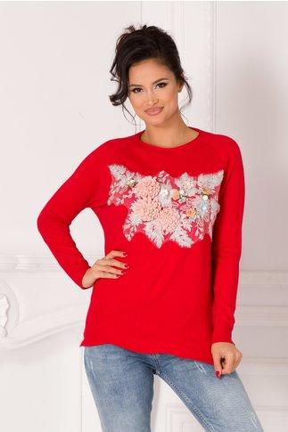 Bluza Tania rosie cu broderie si flori 3D