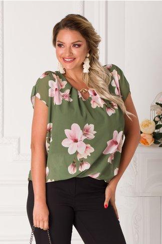 Bluza Taylor kaki lejera cu imprimeuri florale roz