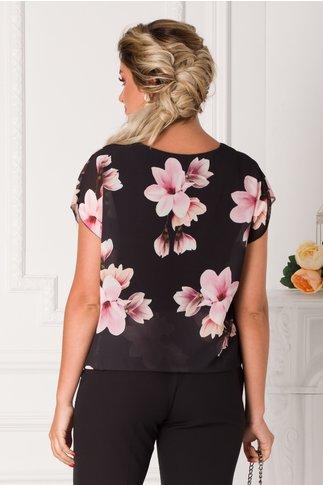 Bluza Taylor neagra lejera cu imprimeuri florale roz