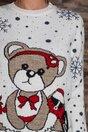 Bluza Teddy alba cu imprimeu cu fulgi de nea