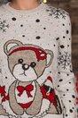 Bluza Teddy bej cu imprimeu cu fulgi de nea