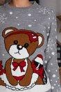 Bluza Teddy gri cu imprimeu cu fulgi de nea