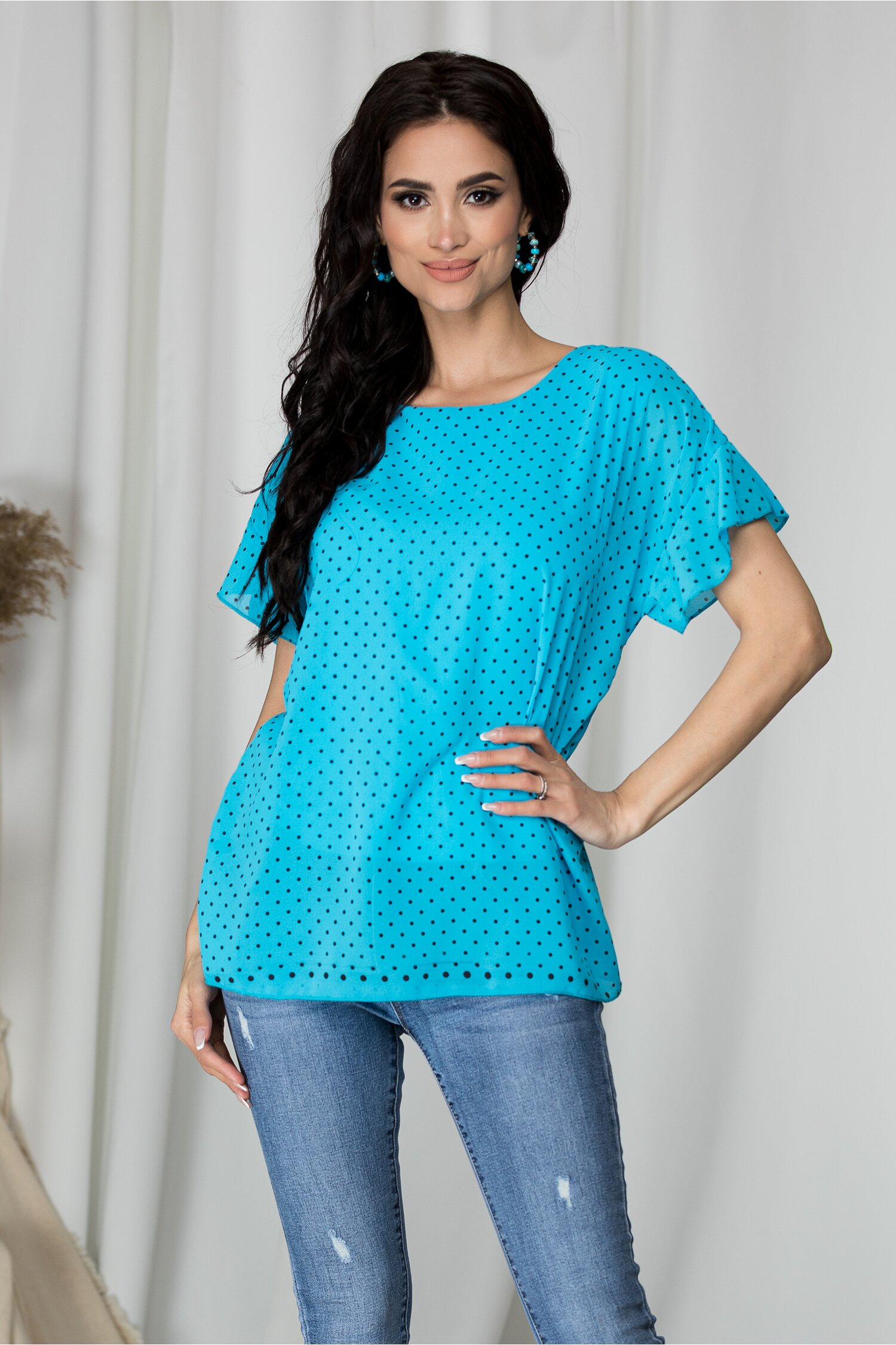 Bluza Teresa albastra cu buline
