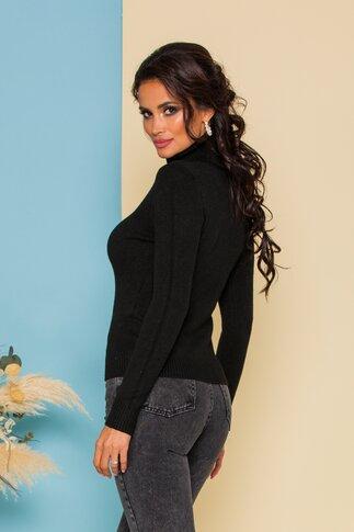 Bluza tip jerse neagra cu guler pe gat cu striatii din tricot
