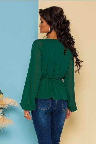 Bluza Tisa verde cu dantela la bust si peplum in talie