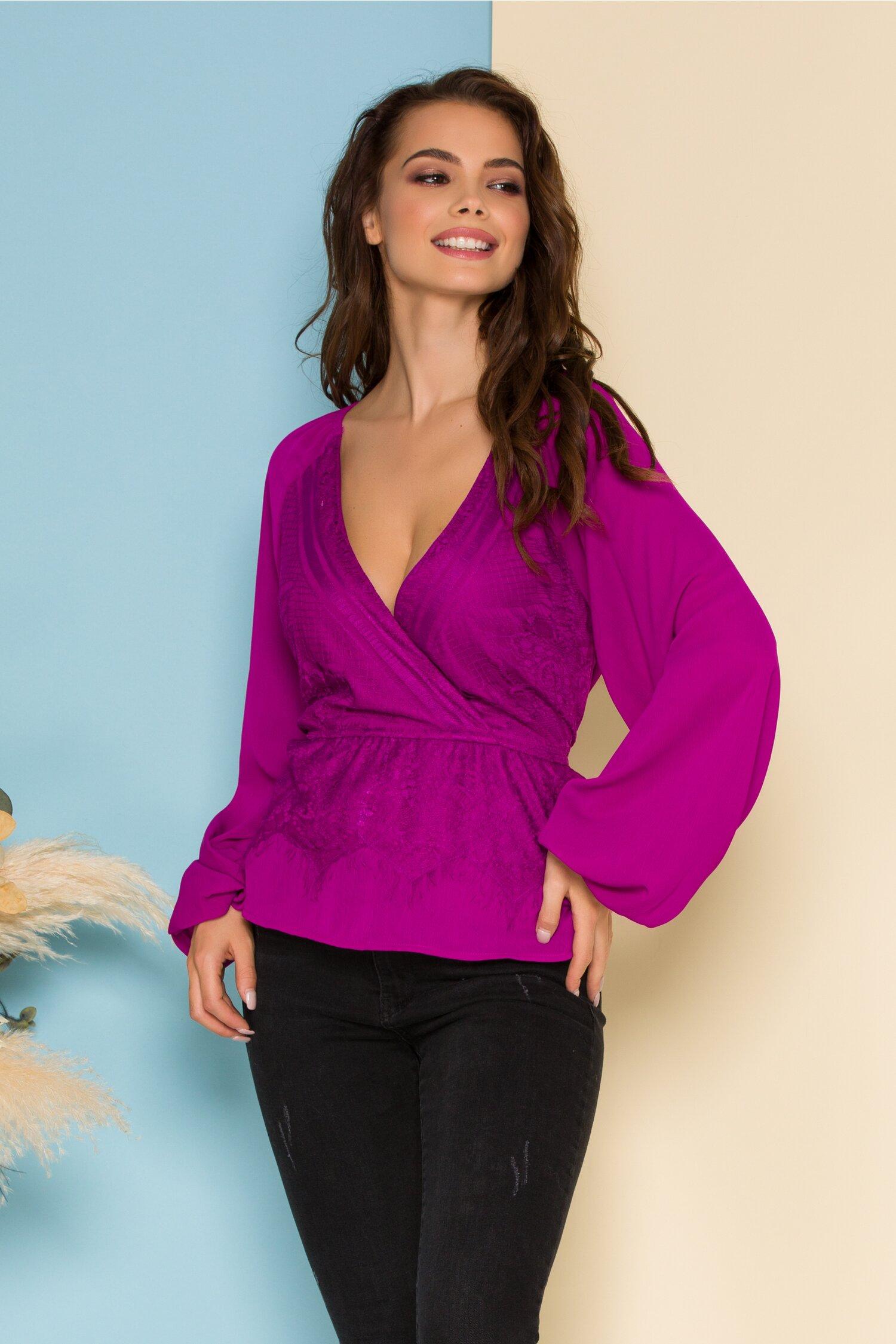 Bluza Tisa violet cu dantela la bust si peplum in talie