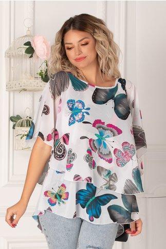 Bluza Tori alba cu fluturi vaporoasa de vara