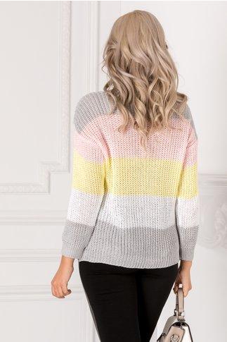 Bluza tricotata gri cu dungi colorate