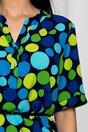 Bluza Vanessa bleumarin cu buline colorate si curea in talie