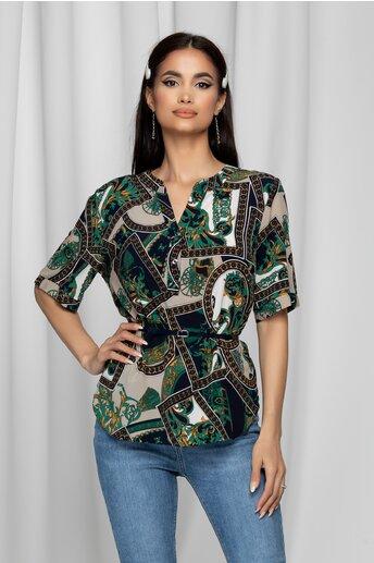 Bluza Vanessa bleumarin cu imprimeu verde-bej si curea in talie