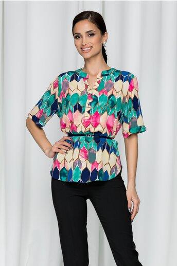 Bluza Vanessa cu romburi in culori aprinse si curea in talie