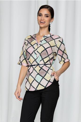 Bluza Vanessa cu romburi in culori pastelate si curea in talie
