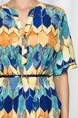 Bluza Vanessa cu romburi multicolore si curea in talie