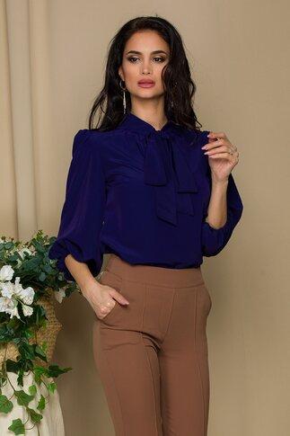Bluza vaporoasa LaDonna bleumarin cu guler tip esarfa