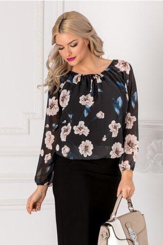 Bluza vaporoasa neagra cu imprimeu floral bej si albastru