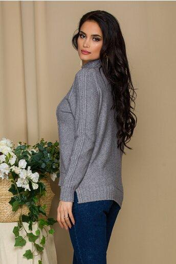 Bluza Vera gri din tricot cu model geometric