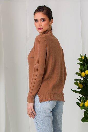 Bluza Vera maro din tricot cu model geometric