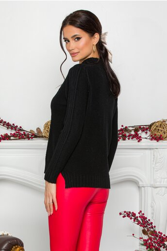 Bluza Vera neagra din tricot cu model geometric