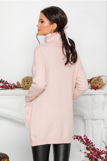Bluza Vera roz cu buzunare imblanite
