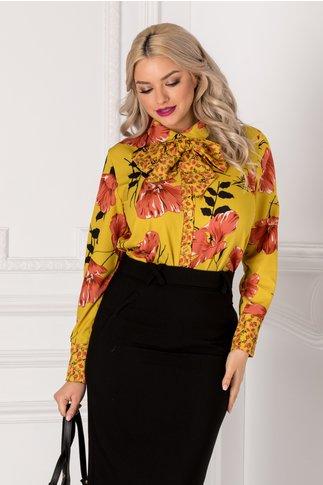 Bluza vernil cu imprimeu floral corai si fundita la gat