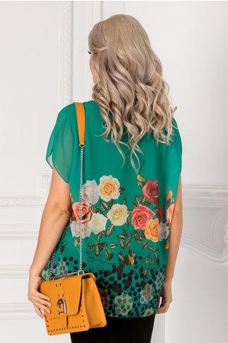 Bluza Vivi verde cu trandafiri colorati