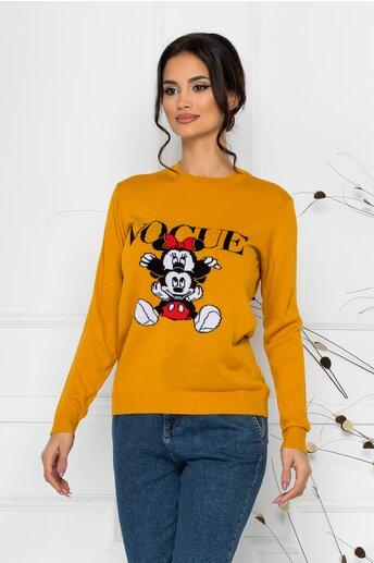 Bluza Vogue galben mustar cu imprimeu Disney