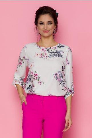 Bluza Volla alba cu imprimeu floral in nuante de roz