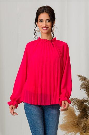 Bluza Xari rosu zmeura cu pliuri