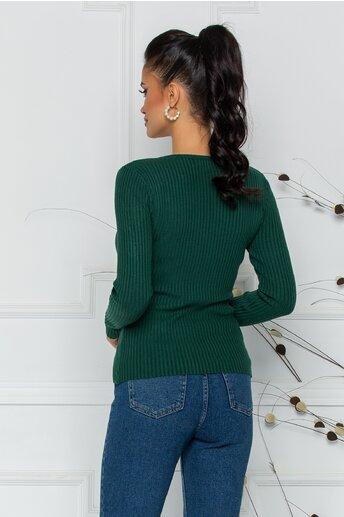 Bluza Xiomara verde din tricot cu textura reiata si nasturei