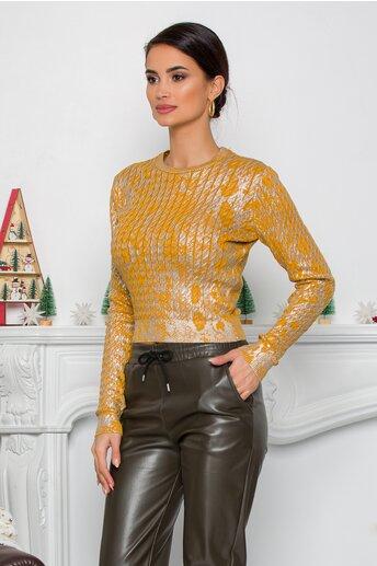 Bluza Yoly galben mustar cu design impletit si imprimeu argintiu