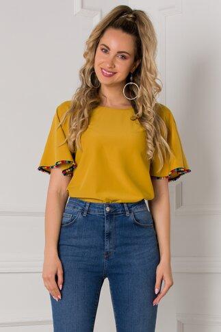 Bluza Zoey galben mustar cu ciucurasi multicolori la baza manecii