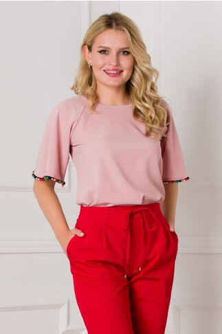 Bluza Zoey roz prafuit cu ciucurasi multicolori la baza manecii
