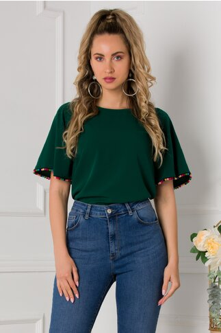 Bluza Zoey verde cu ciucurasi multicolori la baza manecii
