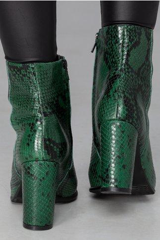 Botine Bell verde cu imprimeu snake