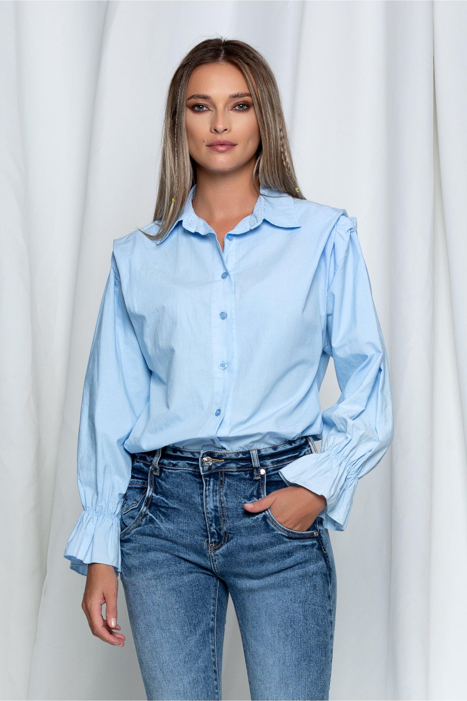 Camasa Azalia bleu cu maneci lungi si pliu la umeri