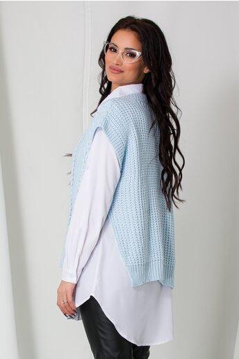 Camasa cu vesta bleu tricotata