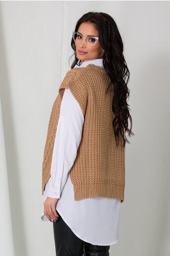 Camasa cu vesta maro tricotata